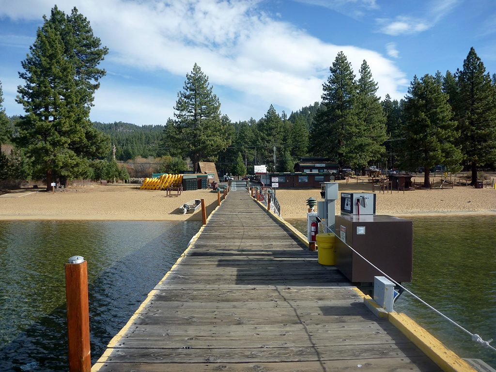 Lake Tahoe dock toward shore